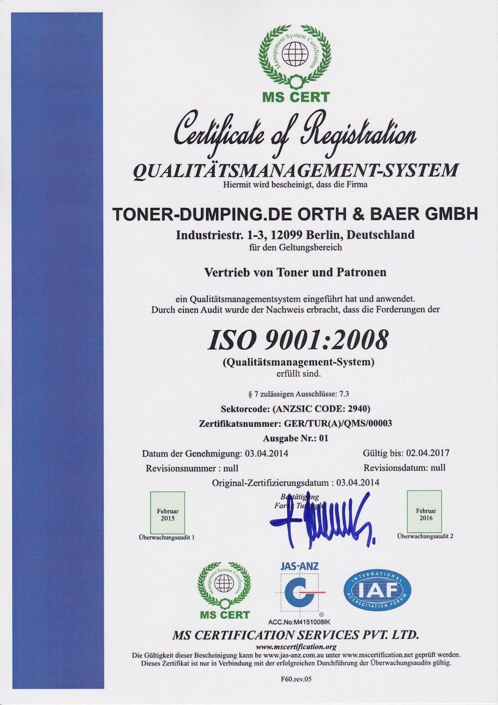ISO 9001:2008 Zertifikatsnummer: GER/TUR(A)/QMS/00003