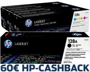 4 Originaltoner bestellen, 60 Euro von HP Cashback