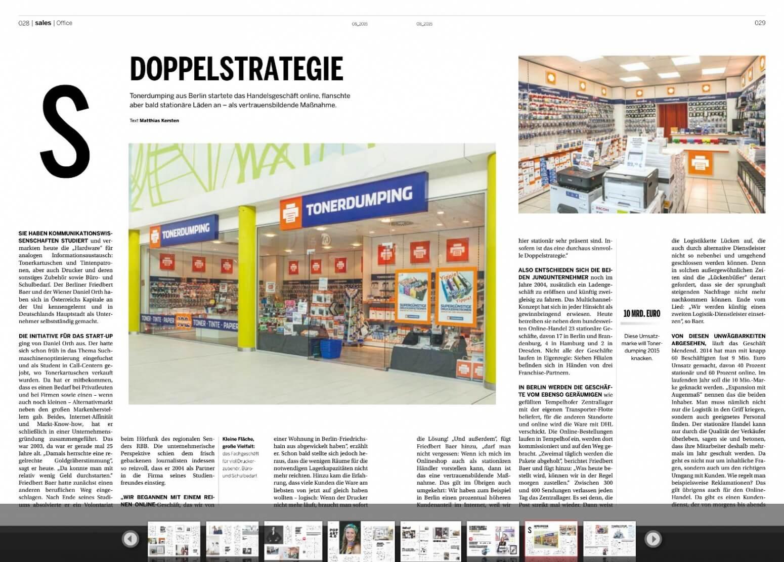 Großes Special in der aktuellen Ausgabe von BUSINESSHANDEL über TONERDUMPING.
