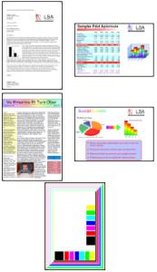 Die 5 ISO-Seiten für den Farbdruck-Reichweitentest.