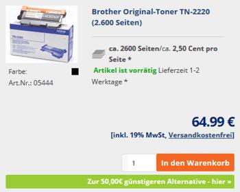 Sparen beim TN-2220 Toner