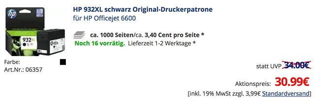 Die HP 934XL Original ist bei TONERDUMPING deutlich billiger als HP dies empfiehlt.