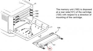 Das Samsung Patent für die billigen Farblaserdrucker. Geschützt ist die Position des Chips.