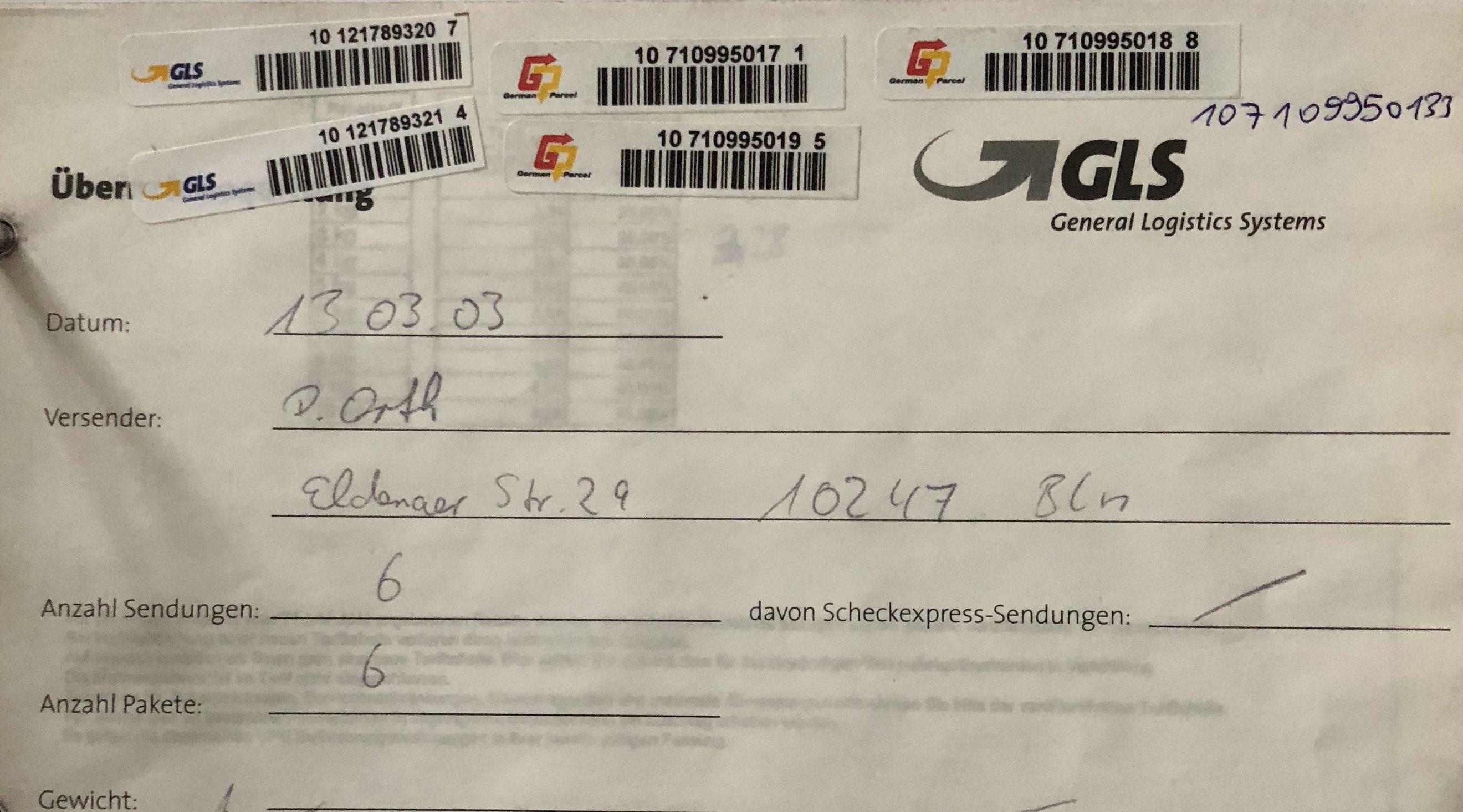 Die erste Abholung mit GLS war am 13. März 2003. Es waren 6 Pakete.