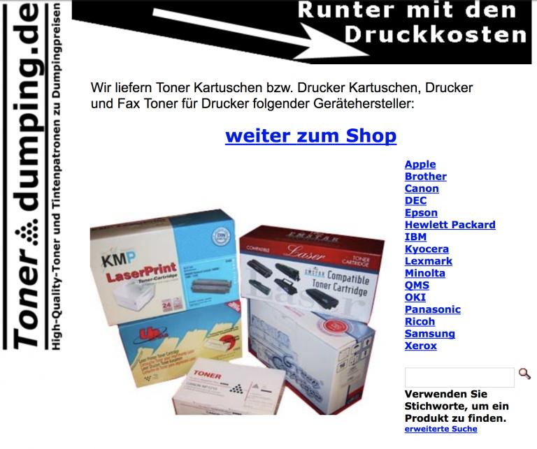 Die Startseite von TonerΔdumping.de im Juni 2003