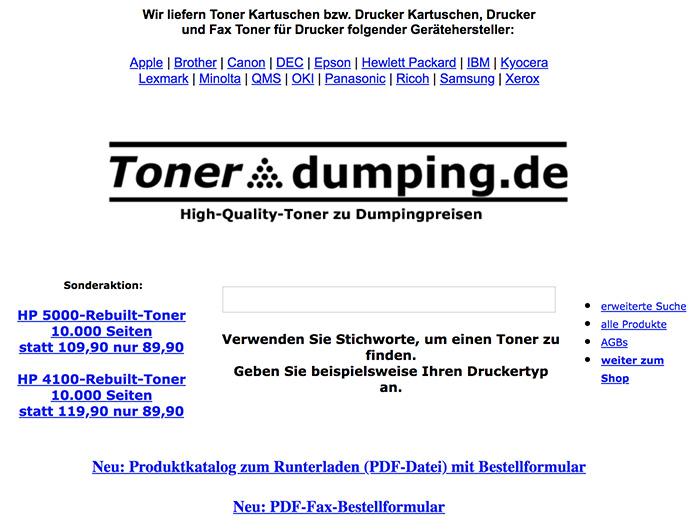 Tonerdumping Startseite im September 2003