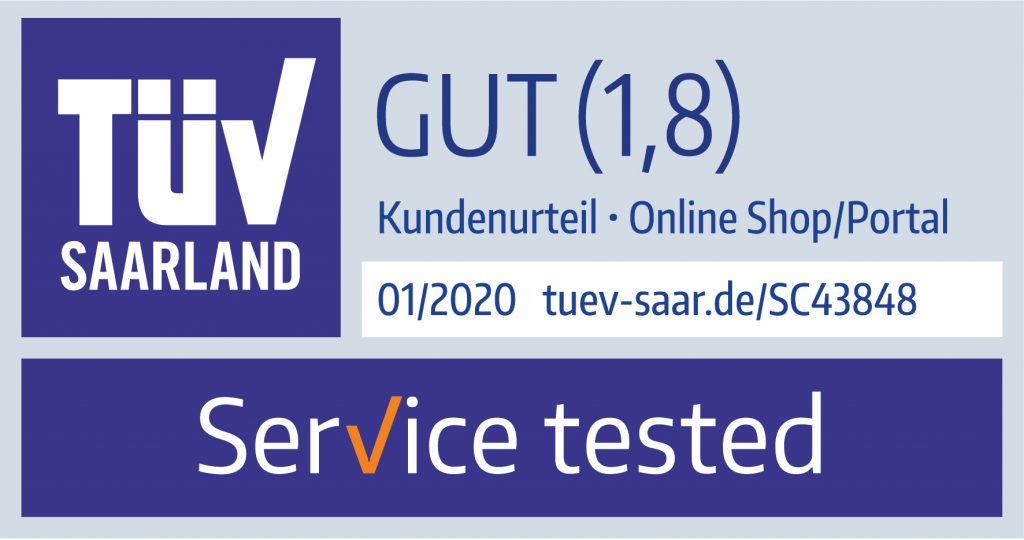 TÜV Saarland Servicetest von toner-dumping.de 01/2020 Note 1,8 Gut