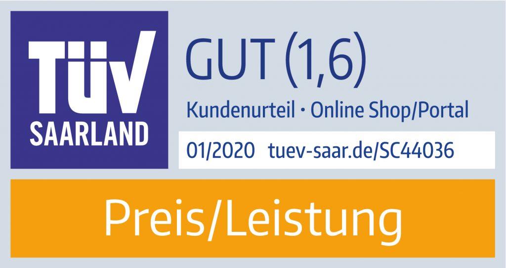 TÜV Saarland Preis-/Leistung von toner-dumping.de 01/2020 Note 1,6 Gut