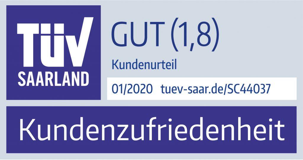 TÜV Saarland Kundenzufriedenheit von toner-dumping.de 01/2020 Note 1,8 Gut