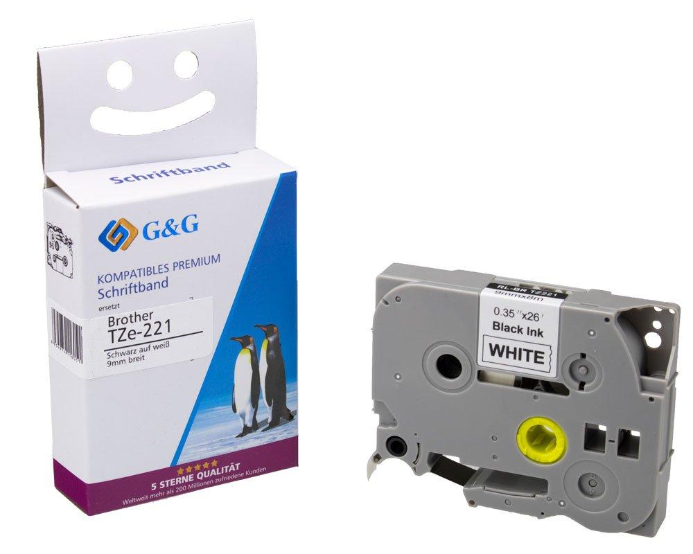 4x Schriftband kompatibel für Brother TZ-221 TZE-221 8m//9mm Schwarz auf Weiß