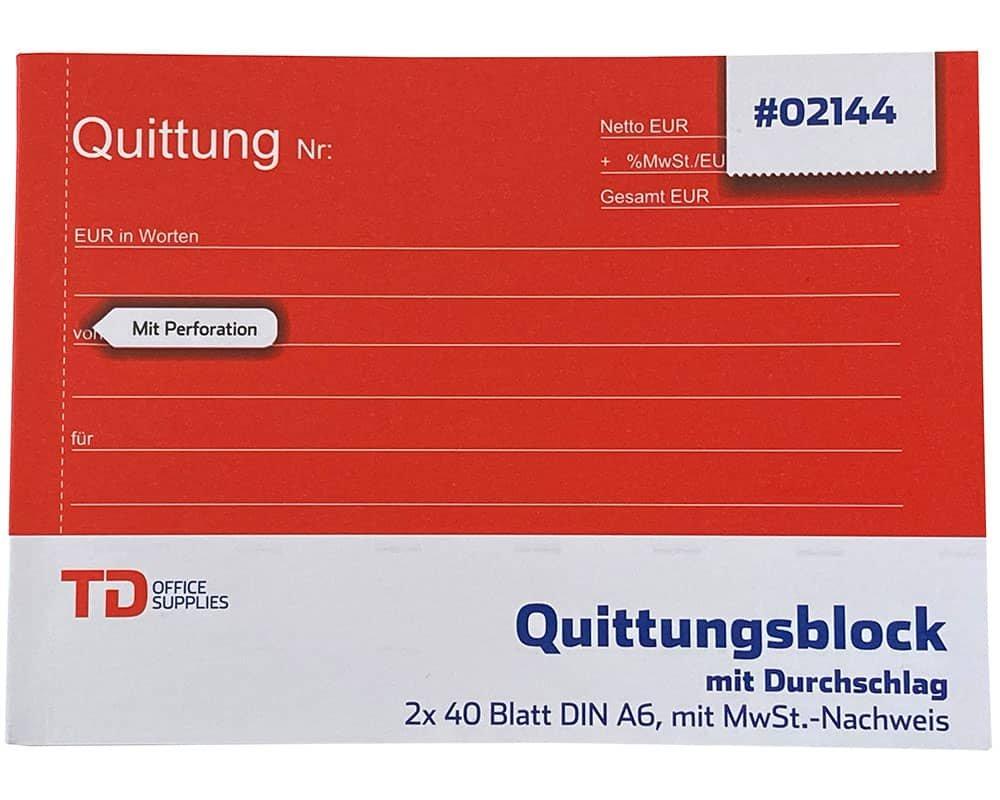 2 Quittungsblock Quittungen durchschreibend mit Durchschlag
