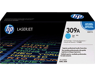 HP Original-Toner 309A/ Q2671A f�r HP Color Laserjet 3500, 3550 cyan