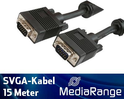 Mediarange VGA Monitor Kabel 15 m schwarz