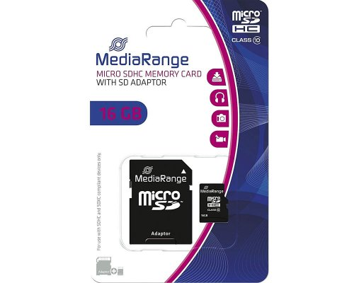 Mediarange Micro SDHC-Karte 16GB Class 10 inklusive SD-Adapter MR958