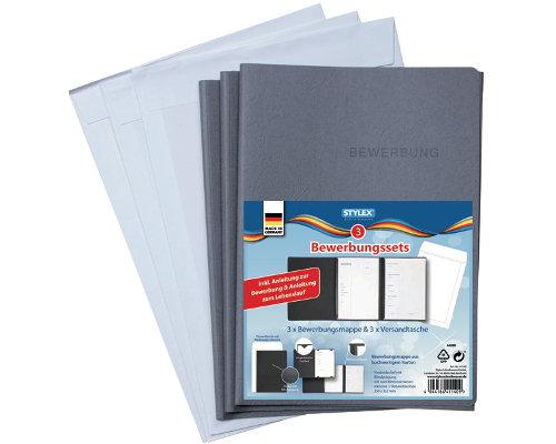 Bewerbungsset: 3 Mappen, 3 Versandtaschen, 3 Vorlagen für