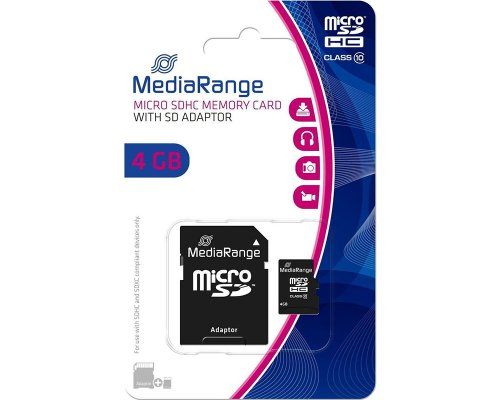 Mediarange Micro SDHC-Karte 4GB Class 10 inklusive SD-Adapter MR956
