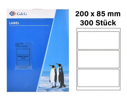 300 G&G Etiketten 200 x 85 mm (auf 100 Blätter A4) für Tintenstrahl- und Laserdrucker geeignet