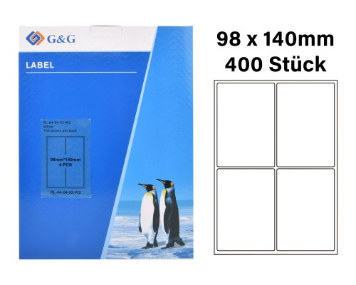 400 G&G Etiketten 98 x 140 mm (auf 100 Blätter A4) für Tintenstrahl- und Laserdrucker geeignet