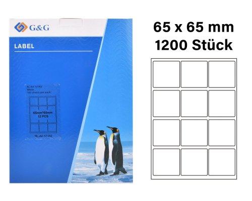 1200 G&G Etiketten 66 x 65 mm (auf 100 Blätter A4) für Tintenstrahl- und Laserdrucker geeignet