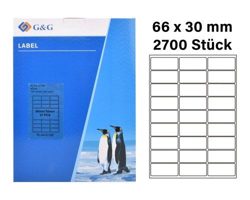 2700 G&G Etiketten 66 x 30 mm (auf 100 Blätter A4) für Tintenstrahl- und Laserdrucker geeignet