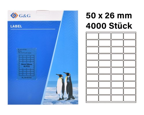 4000 G&G Etiketten 50 x 26 mm (auf 100 Blätter A4) für Tintenstrahl- und Laserdrucker geeignet